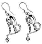 Christian Scripture Jewelry - Rapturewear.com    CZ Dangling Heart Earrings