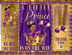 Royal Pink Black Gold Princess Bow Crown Printable Potato Chip Bags Ethnic African Amercian Girl Baby Shower Favors