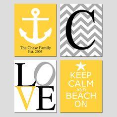Beach Family Love - Set of Four 8x10 Nautical Prints - Chevron Monogram, Family Established, LOVE, Keep Calm Beach On - Seahorse, Anchor. $65.00, via Etsy.