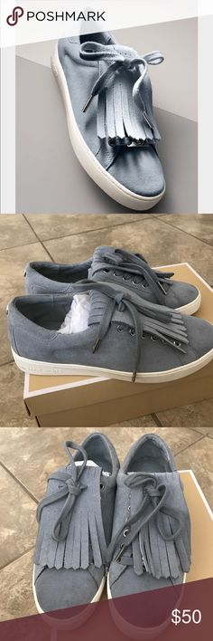 Michael kors suede dust blue sneakers Authentic. Comes in original box. In excellent condition. Dusty blue suede. The fringy part is removable as shown in last photo. Very cute!! Michael Kors Shoes Sneakers