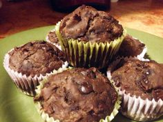 vegan double chocolate chip date muffins