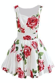 ROMWE | Bandeau Rose Print Tank Dress, The Latest Street Fashion #ROMWEROCOCO