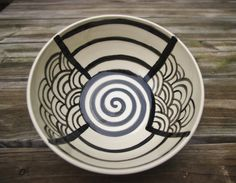 Black and White Ceramic Bowl, Graphic, Hand Painted, Large, Ready to Ship