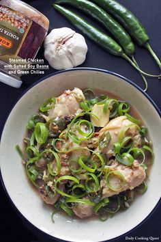 Steamed Chicken with Salted Soy Beans and Green Chilies