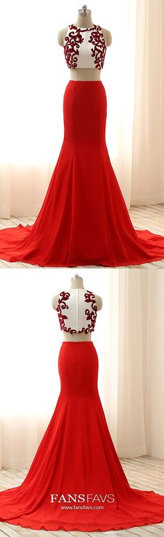 Long Prom Dresses Red, Mermaid Prom Dresses Two Piece, Chiffon Prom Dresses Modest, Lace Prom Dresses Elegant #FansFavs #reddress #twopiecedresses #mermaiddresses