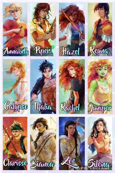 Rick Riordan said these are the oficial drawings of the girl's of percy jackson Percy Jackson Characters, Percy Jackson Quotes, Percy Jackson Fan Art, Percy Jackson Books, Percy Jackson Fandom, Viria Percy Jackson, Annabeth Chase, Percy And Annabeth, Percabeth