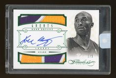 2012-13 Panini FLAWLESS EMERALD GREATS Kobe Bryant DUAL 3-COLOR PATCH AUTO 1/5…