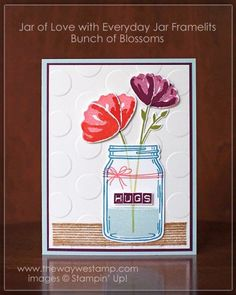 http://www.thewaywestamp.com Get Well Theme for Global Design Project 039 using Stampin' Up! sets Jar of Love with coordinating Everyday Jar Framelits, Bunch of Blossoms and Labeler Alphabet. #GDP039 #thewaywestamp #jaroflove #bunchofblossoms #labeleralphabet #stampinup2016
