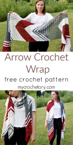 Arrow Crochet Wrap - MyCrochetory - Crochet this extraordinary arrow-shaped wrap using your favourite colours. Free crochet pattern on - Poncho Au Crochet, Crochet Shawls And Wraps, Crochet Scarves, Crochet Clothes, Crochet Stitches, Knit Crochet, Crochet Patterns, Stitch Patterns, Poncho Scarf