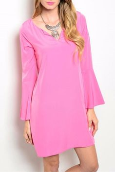 Chic and simple, this dress features long bell sleeves and is perfect for work or a night out. Pink Tunic Dress by Pink Owl. Clothing - Dresses - Long Sleeve Clothing - Dresses - Casual Columbus, Ohio
