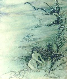 Arthur Rackham RWS (1867-1939)  Rhine Maiden Lamenting  Ink with colour wash on paper, 1910