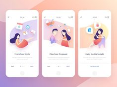 Onboarding screens for period tracker. Swipe for illustration details Mobile App Design, Web Mobile, Mobile App Ui, Mobile Game, Ui Ux Design, Design Sites, Interface Design, Design Layouts, Design Agency