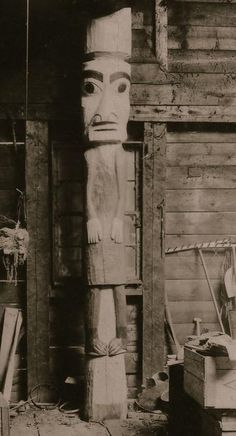 Located on the left at the front of the house of Hlengwah. Historical Sites, British Columbia, Coast, Artwork, Work Of Art