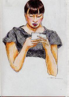 黒いTシャツのお姉さん(通勤電車でスケッチ)A sketch of the lady who put on a black T-shirt. It was drawn by commuter train.