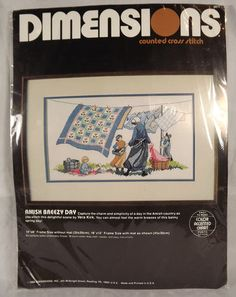 ♥Amish Breezy Day Dimensions Counted Cross Stitch Kit 3611 Vera Kirk Design 1986