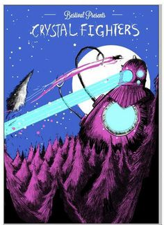 Crystal Fighters screen printed poster by rabbitportal on Etsy, $35.00