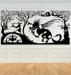 Princess with her Sword Fighting the Dragin, Fariytale, Vinyl Decal, Wall Art, Sticker, perfect for Nursery, Bedroom. $215.00, via Etsy.