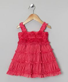 Take a look at this Fuchsia Rosette Ruffle Tier Dress - Infant, Toddler & Girls by One Posh Kid on #zulily today!