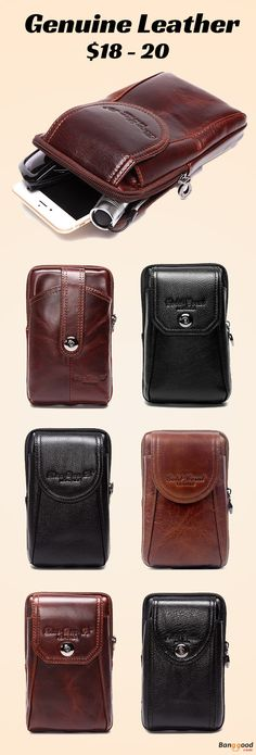 US$18 ~ 20 + Free Shipping. Men Phone Bag, Men Waist Bag, Genuine Leather Bag,  Waist Bag, Business Bag, Crossbody Bag, Cellphone Bag. Check This Out, You Will Not Regret.