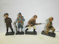 Konvolut 4 Lineol Soldaten Chinese Luxenburger Ardennenjäger Franzose zu 7.5cm | eBay