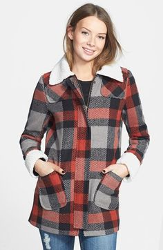 Thread & Supply Faux Shearling Trim Plaid Coat (Juniors) available at #Nordstrom
