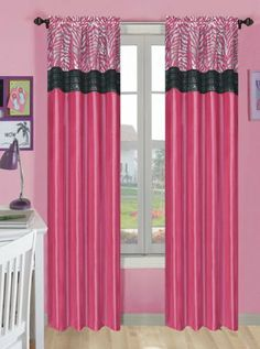 Another great find on Pink Zebra Rod-Pocket Curtain Panel - Set of Two by Beatrice Home Sequin Curtains, Zebra Curtains, Drapes Curtains, Curtain Shop, Kitchen Window Treatments, Pink Sequin, Color Combinations, Home Kitchens, Hot Pink