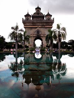 The Patuxay monument, also known as the Victory Monument, was built by the French and is one of the oldest standing structures in Vientiane, Laos
