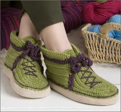 Free pattern for crocheted Boots in women's sizes. Requires a pair of Boye slipper sock bottoms.