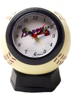 "Major League Baseball's Atlanta Braves Quartz Alarm Clock Replica Of official MLB Baseball size 6""x5."