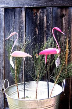 Pink Flamingo sculpture made from pvc pipe. $16.00, via Etsy.