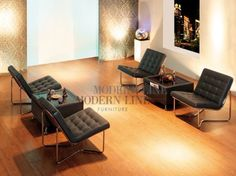 Modern Black Leather Set of Four Chairs and Two Multi-Function Coffee Tables by Modern Line Furniture. $1499.95