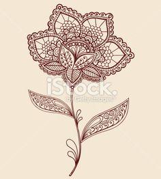 Tatouage au henné, Dentelle, Petites serviettes, Cachemire, Fleur Illustration vectorielle libre de droits