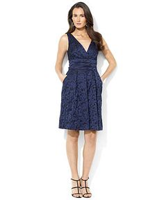 Lauren Ralph Lauren Dress, Sleeveless Jacquard Empire-Waist - Dresses - Women - Macy's