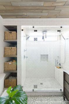 Bathroom Tile Ideas - Beautiful bathroom remodel and complete transformation to this dream bath! Urban farmhouse master bathroom makeover with Delta Faucet. #Bathroomstorage