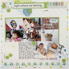 Right Where We Belong Scrapbook Layout Page Idea from Creative Memories - This is using the new Hexagon Border Punch