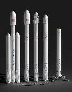 Rockets: SpaceX Falcon Heavy,  F9R+Fairing(5.2m), F9R+Dragon V2, F9R+Dragon, F9R(booster).