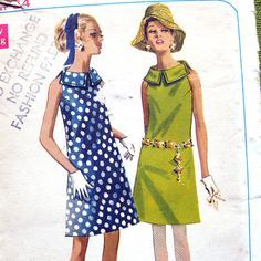 1960s Vintage Sewing Pattern Mod Sheath A Line by SelvedgeShop