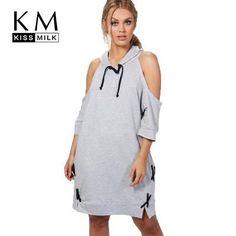 Kissmilk Hoodie Sweatshirt Lace Up Loose Pullovers Tunic Tops Midi Shirt  Dress f5ee1141c4d2