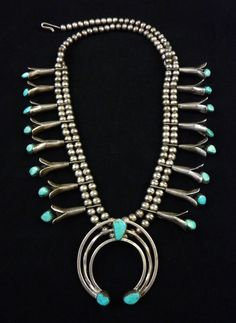 Unique 129g Vintage Old Pawn Navajo Sterling Silver Squash Blossom Necklace w Gorgeous Blue Gem Turquoise! Elegant Version of A Classic!