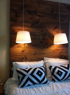 DIY Headboard | Delighted Blog. A special idea to use hanging lamps in this manner. Could use more.
