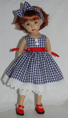 """~*~4th of July & Beyond~*~fits 13"""" Effner Little Darling~*~Navy&White Gingham~*~"""
