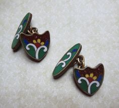 Vintage Cufflinks with Pietra Dura Inlaid Design with Goldstone and Flower, Double Button Cufflinks with Enameled Backs and Chain Connector by MiladyLinden on Etsy https://www.etsy.com/listing/245768026/vintage-cufflinks-with-pietra-dura