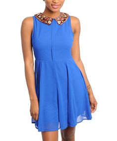 Take a look at this Royal Blue Chiffon Sleeveless Dress by Buy in America on #zulily today!