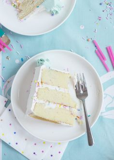 Ah yes, a pastel vanilla sprinkly cake! But wait, before you wonder why the heck I'm sharing yet another vanilla cake recipe, it's because Vanilla Buttermilk Cake, Vanilla Cake, Sweet Recipes, Cake Recipes, Dessert Recipes, Dessert Ideas, Mini Cakes, Cupcake Cakes, Cupcakes