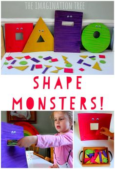 Feed the hungry shape monsters game! Fun preschool or kindergarten math game. - Feed the Hungry Shape Monsters Sorting Game - The Imagination Tree Kindergarten Math Games, Preschool Classroom, Preschool Crafts, Science Crafts, Montessori Elementary, Montessori Preschool, Preschool Decorations, Kindergarten Decoration, Maths Eyfs