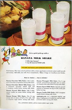 Love these Vintage Recipe Ads this one is for Banana Milk Shake and all the different ways to make it