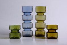 Vintage Set of 4 Pala Vases by Helena Tynell - Riihimäen Lasi Oy / Riihimaki Art Of Glass, Living Room Colors, Vintage Pottery, Glass Design, Scandinavian Design, Lassi, Retro, Mid Century, Ceramics