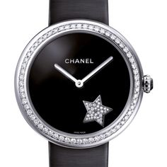 Chanel Mademoiselle Prive Comete Automatic Ladies Watch (372.158.290 IDR) ❤ liked on Polyvore featuring jewelry, watches, buckle watches, white gold watches, chanel watches, chanel and analog watches