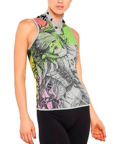 Look what I found on #zulily! Gray & Green Graphic Henley Sleeveless Top #zulilyfinds