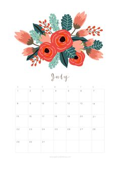 Printable July 2018 Calendar Monthly Planner – Flower Design